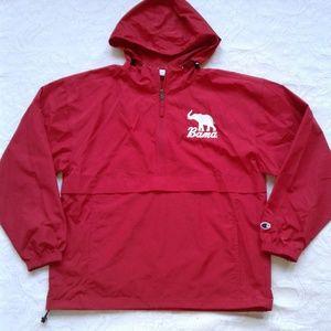 Champion Rain Jacket Windbreaker Red Bama L Hooded